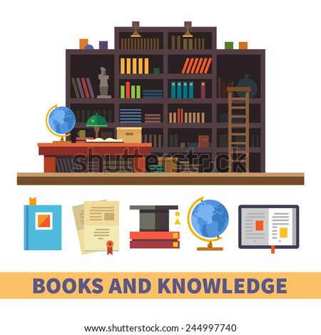 Bookcase. Cabinet and library. Books and knowledge. Vector flat illustration and icon set - stock vector