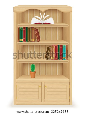 bookcase furniture made of wood vector illustration isolated on white background - stock vector