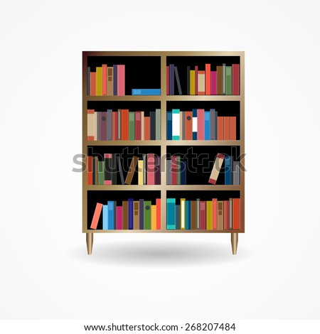 Bookcase with Books Icon Vector Illustration EPS10 - stock vector