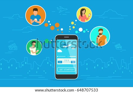 Booking aircraft passage online concept design. Flat vector illustration of young men and women in circle icons using smartphone mobile app for ordering flight ticket via application online