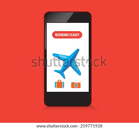 booking flight on smartphone - stock vector