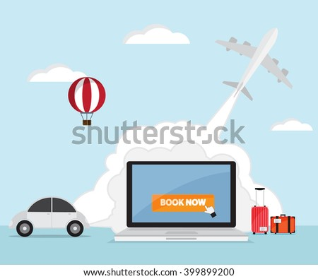 booking online for ticket  airplane, car rental, hotel, travel vector illustration - stock vector