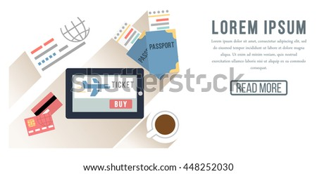 Booking online  travel or ticket vector illustration