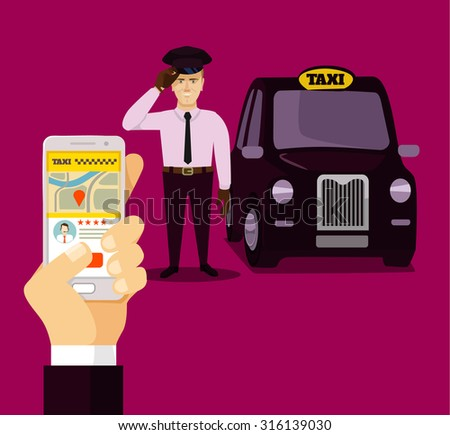 Booking taxi via mobile app. Vector flat illustration