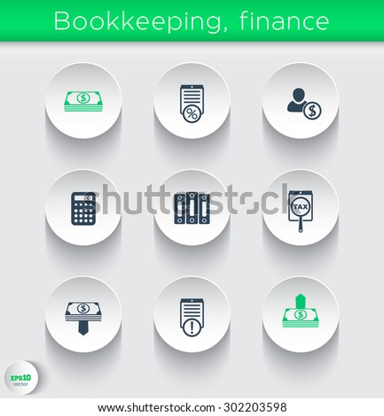 Bookkeeping, finance icons on round 3d shapes, vector illustration, eps10, easy to edit - stock vector