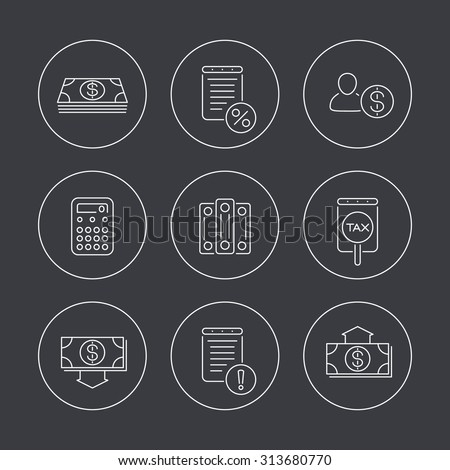 Bookkeeping, finance, line icons in circles, vector illustration, eps10 - stock vector