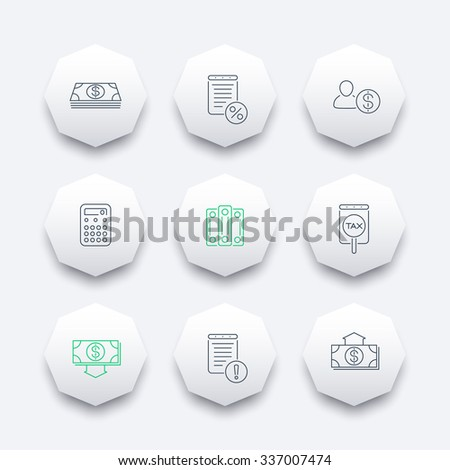 Bookkeeping, finance, line octagon icons, vector illustration - stock vector