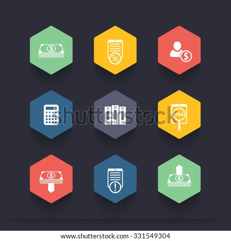 Bookkeeping, finance, payroll, accountant color hexagon icons, vector illustration - stock vector