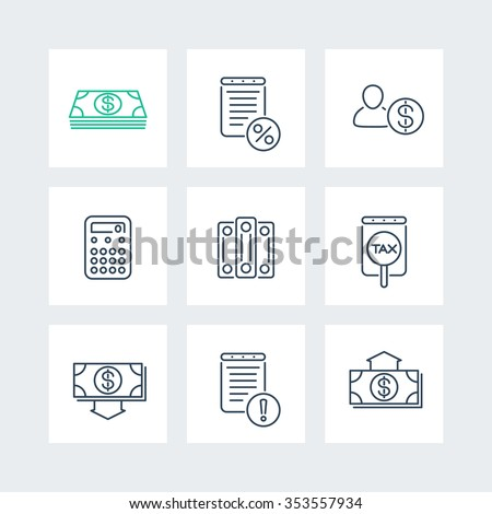 Bookkeeping, finance, tax line icons in squares, vector illustration - stock vector
