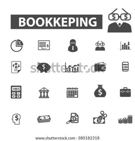bookkeping icons - stock vector