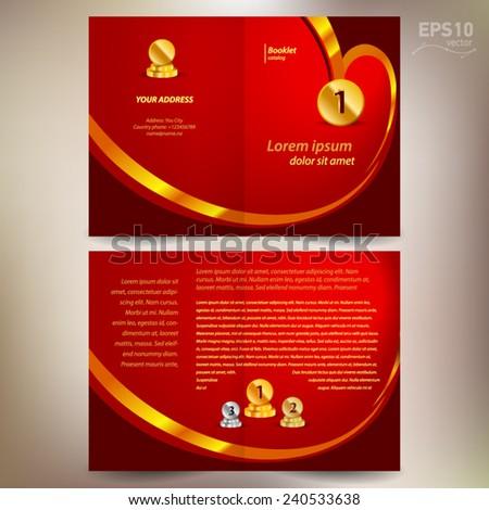 booklet catalog brochure design template vector folder leaflet award winner element gold color red background - stock vector