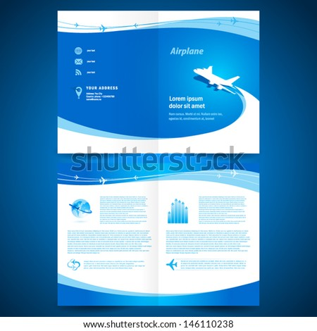 booklet catalog brochure folder airplane airline flight transportation line connection - stock vector