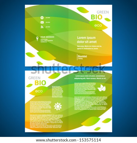 booklet catalog brochure folder bio eco green leaf nature abstract element white colorful background - stock vector