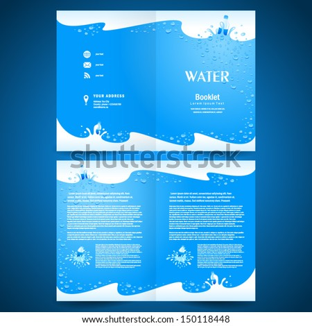 booklet catalog brochure folder water aqua splash bootle blue background - stock vector