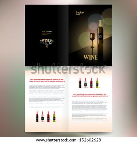 booklet catalog brochure folder wine red vine bokeh gold black background - stock vector
