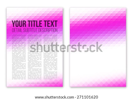 Booklet  cover template vector design with violet triangle abstract background - stock vector