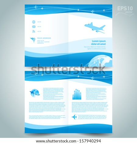 booklet design template catalog brochure folder airplane takeoff flight tickets air fly cloud sky blue white color travel background - stock vector