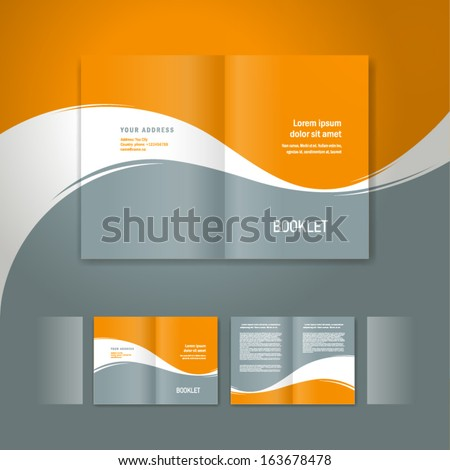 booklet design template white curve line element orange grey background - stock vector