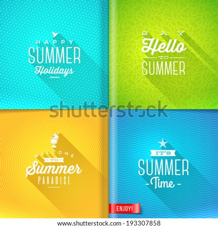 Booklet template - set of summer greeting sign with long shadow on pattern paper pages - vector design - stock vector