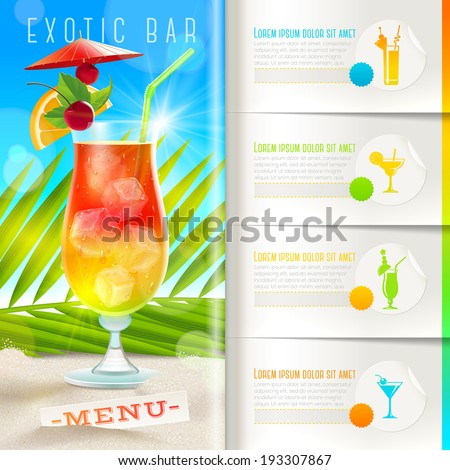 Cocktail Menu Template Tropical Stock Images, Royalty-Free Images