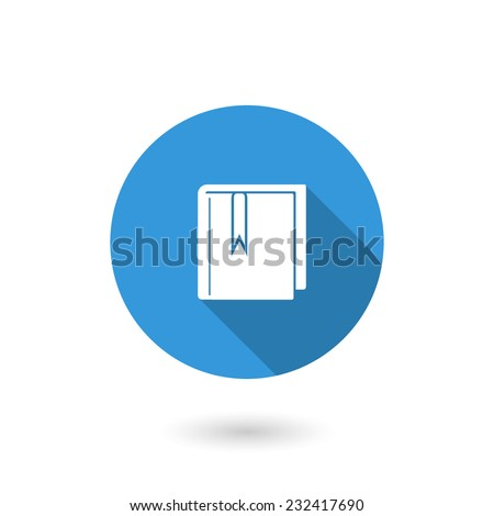 Bookmark book icon. Vector illustration of flat blue color icon with long shadow - stock vector