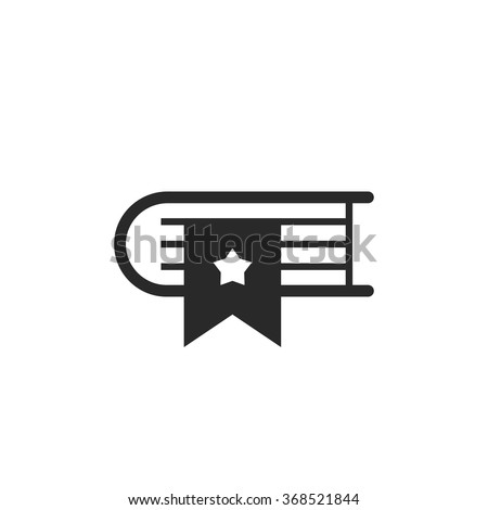 Bookmark book icon vector symbol, concept of library and bookstore logo, dictionary mark pictogram, literature education, organizer modern flat outline linear design isolated on white background - stock vector