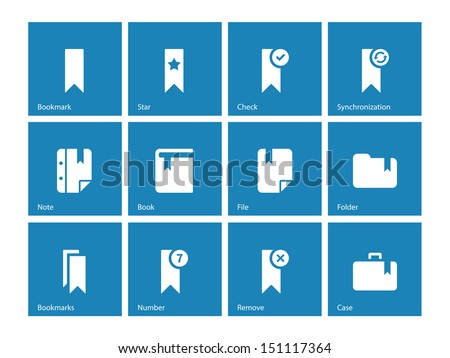 Bookmark icons on blue background. Vector illustration. - stock vector
