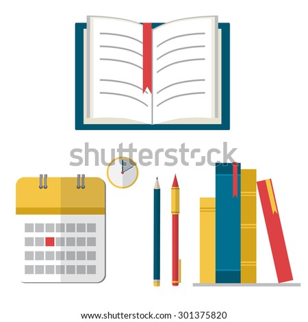 Books and calendar in flat style. Back to school concept vector illustration.