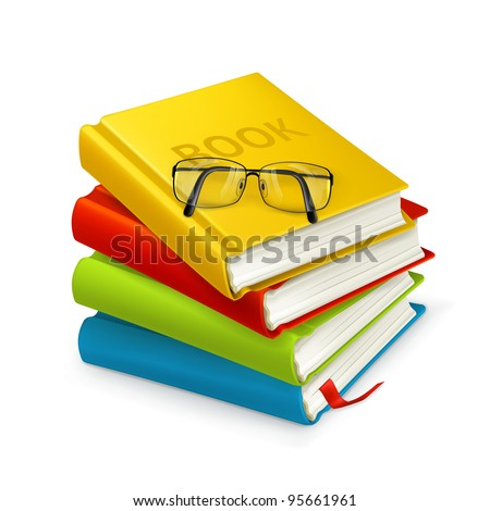 Books and glasses, vector - stock vector