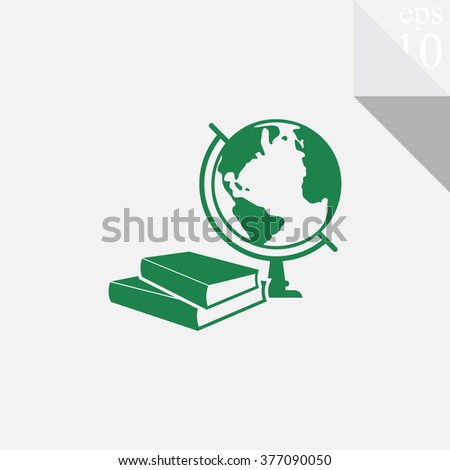Books and globe vector icon. Education symbol. - stock vector
