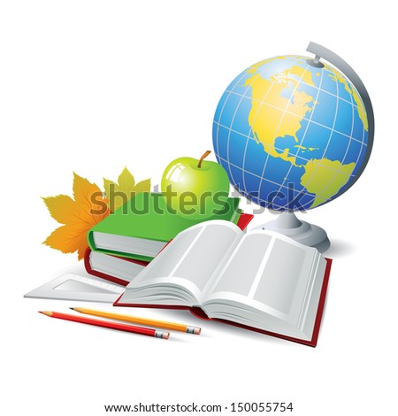 Books and globe. Vector Illustration - stock vector