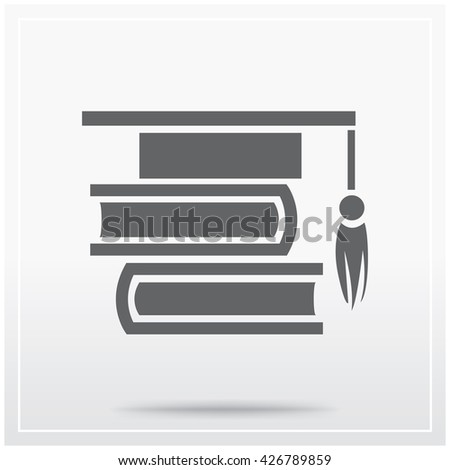 Books Graduation Cap Symbol Education Learning Stock Vector