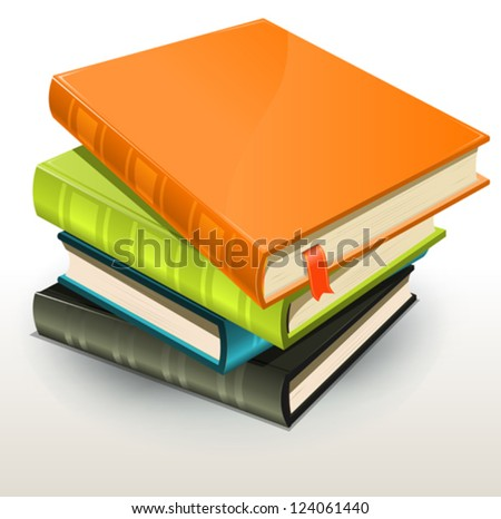 Books And Pics Albums Pile/ Illustration of a stack of elegant design photographs or pictures albums and books with page bookmark - stock vector