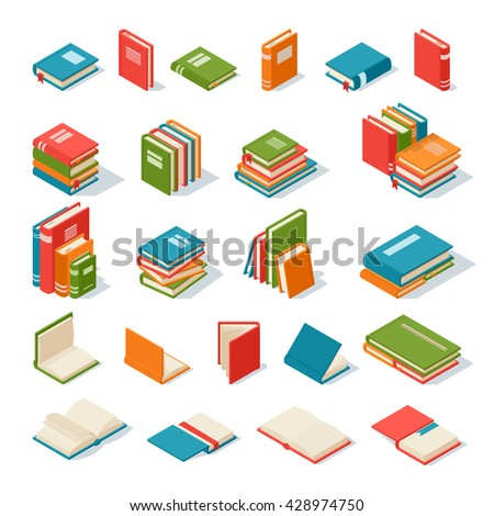 Books collection isolated on a white background. Literature paper books isolated and education books isolated vector illustration. Books isolated knowledge information school library. - stock vector