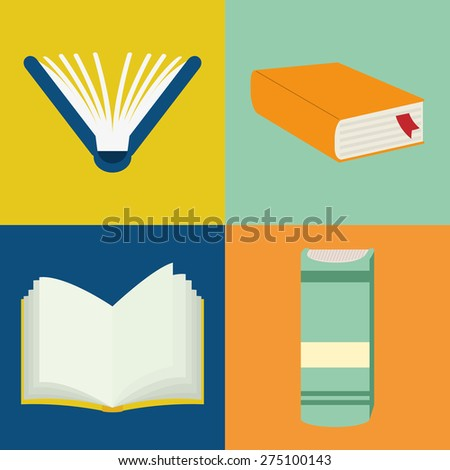 Books design over colorful background, vector illustration.