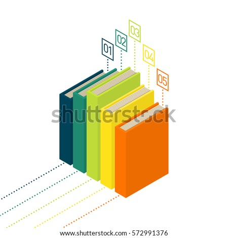 Books diagram infographic new 3d colorful stock vector hd royalty books diagram infographic new 3d colorful books and tutorials isometric flat classbooks and textbooks ccuart Image collections