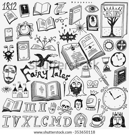 books doodles set - stock vector
