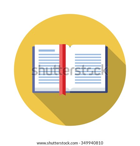Books flat Icon with Long Shadow - stock vector
