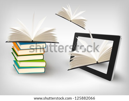 Books flying in a tablet. Vector illustration