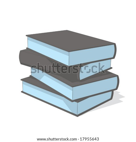 books (gray & blue object series) - stock vector