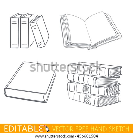 Books icon set. Editable vector graphic in linear style. - stock vector