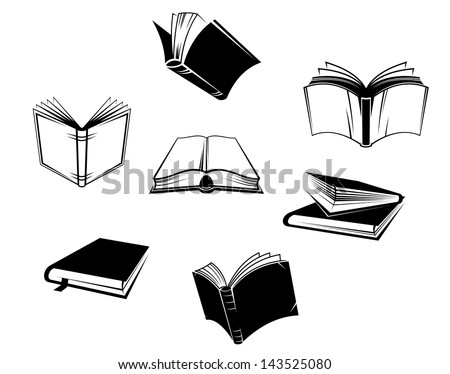 Books icons and symbols set isolated on white background or idea of logo. Jpeg version also available in gallery - stock vector