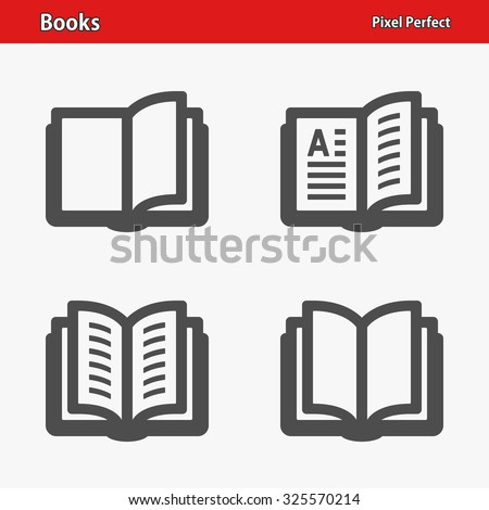 Books Icons. Professional, pixel perfect icons optimized for both large and small resolutions. EPS 8 format. - stock vector
