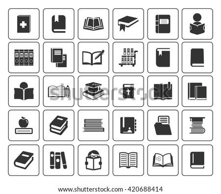 books icons set - stock vector