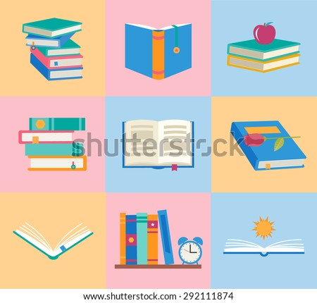 Books icons set. Books stack, opened book, closed book, books shelf, sun over open book, knowledge concept, vector illustration. Infographics design elements. - stock vector