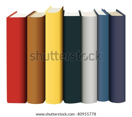 books in multicolored covers, view from back, vector - stock vector