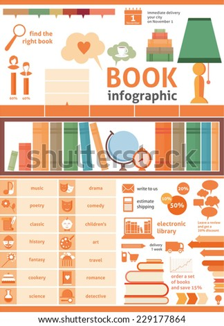 books infographics, set of flat book icons - stock vector