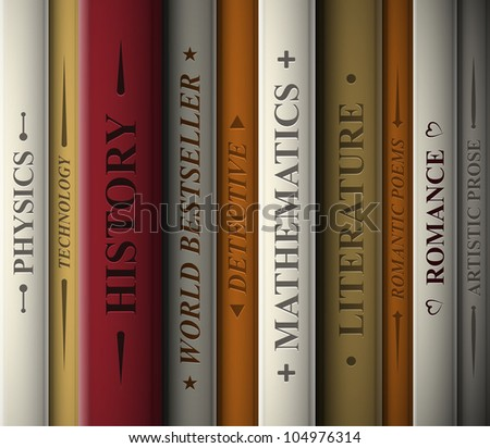 Books of various literary genres. Eps 10 - stock vector