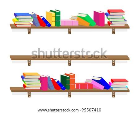 Books on a bookshelf - stock vector