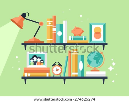 Books on bookshelf in flat modern style - stock vector